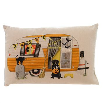 Halloween HALLOWEEN CAMPER PILLOW Fabric Owl Cat Dag RIP Hx1713