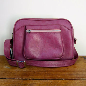 Vintage 60s Purple American Tourister Travel Bag Large Vinyl Shoulder Bag Train Case Retro Carry On Luggage DELLS Suitcase Weekender Bag