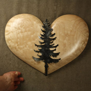 The best loving rustic wall Heart art sculpture wall wood carving