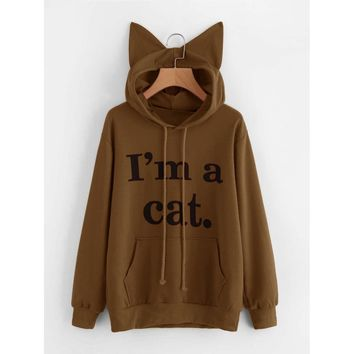 Slogan Print Cat Ear Hoodie Coffee