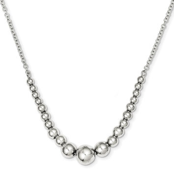 Sterling Silver Polished Graduated Bead Necklace QH4964
