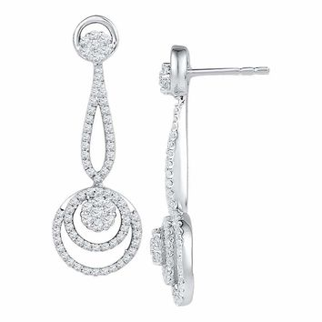 10kt White Gold Women's Round Diamond Circle Cluster Dangle Earrings 1.00 Cttw - FREE Shipping (US/CAN)