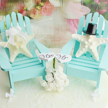 Wedding Cake Topper ~ Robins Egg Blue ~ Miniature Adirondack Chairs  ~ Knobby Starfish Bride/Groom ~ Beach Wedding Decor ~ Cake Topper