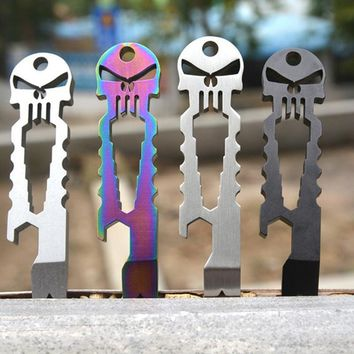 LumiParty Outdoor Multi-functional Stainless Skull EDC Survival Pocket Tool Key Ring Chain Bottle Opener Survival Tool 4 Color