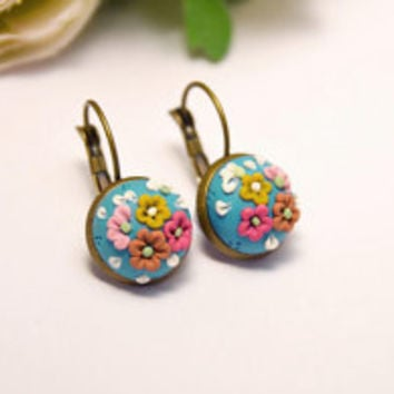 Blue and Pink Floral Dangly Earrings - beautiful handmade jewellery by Clay and Clasp
