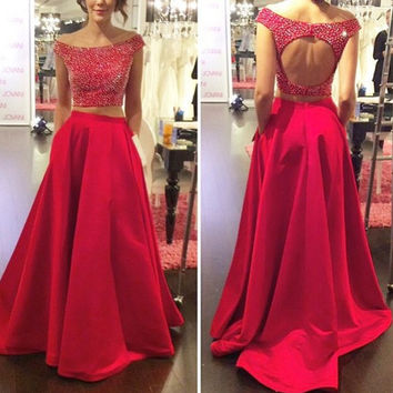 Elegant Two Piece Red Prom Dresses with Beadings