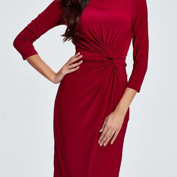 3/4 Sleeves Twist Front Slimming Sheath Dress