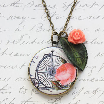 Bicycle Locket Necklace Coral Rose Charm Long Necklace Floral Photo Locket Patina Leaf Charm Flower Locket French Style France Jewelry