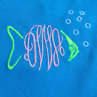 Girls monogrammed fish v-neck tee