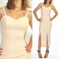 90s Vintage Modernist Pale Peach Beaded Cut Out Maxi Dress / Front Slits