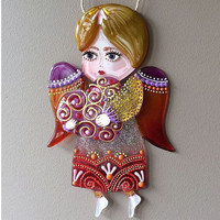 Handmade ANGEL WITH HEART glass fusing techniques newborn gift lovers mothers guardian amulet talisman