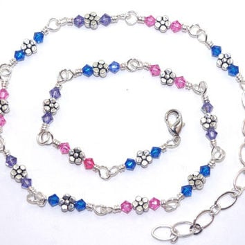 Pink blue purple Swarovski crystal bead wire wrap link necklace, Silver plated flower bead, Adjustable lobster claw clasp, Small choker