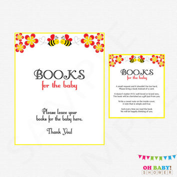 Bee Baby Shower, Baby Book Request, Bumble Bee Baby Shower, Bring a book instead of a Card, Books for Baby, Honey Bee Baby Printable, BN01
