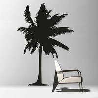 Wall Decal Vinyl Sticker Decals Art Decor Design Palm Branch Beach Tree Hawaii Sun Summer Surf Dorm Bedroom Mural Modern Dorm (r670)