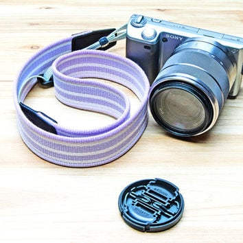 DSLR Camera Strap Fujifilm Instax Camera Compact Camera Strap Stripe Pink and Purple Adjustable Length