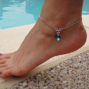 Silver Chain Anklet with Swarovski crystal heart pendant