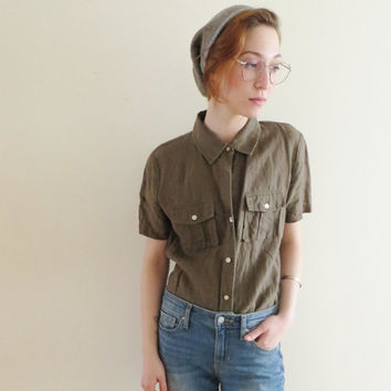 90's Gap Linen Blouse Army Button Up Shirt Short Sleeve Collar Military Army Style Women's Size Small Size 4 to 6