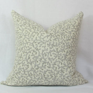 "Platinum gray & ivory coral scroll decorative pillow cover. 18"" x 18"" toss pillow. 18"" accent pillow. sofa pillow"