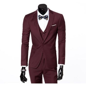Men's Wine One Button Slim Fit Suit - Three Piece