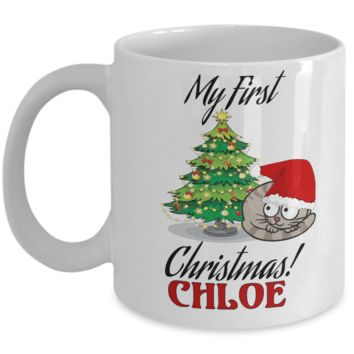 *Attention Cat Moms* Turn your Mugs into a piece of Purrrfect Cat Mom Art! First Christmas Personalized Name X-Mas Kitty Mug Gift For Cat Lovers