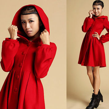 Red wool coat with hood (333)