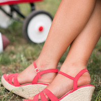 Restricted Duarte Wedges - Coral Red