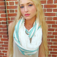 Blue striped Lace infinity scarf