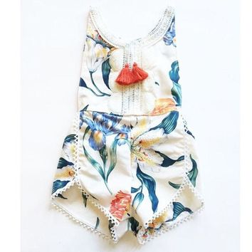 newborn baby boutique vintage floral romper jumpsuit Girl Romper Kids clothes matched headband