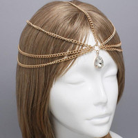 Gold Tear Drop Crystal Head Chain Headpiece, Grecian headchain, House Of Harlow Style Gypsy head jewelry Haadchain