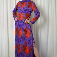 Long Vintage Dress, Moorish Print, Red and Purple, Maxi Dress, Long Sleeve Dress, High Slit, 1970's Fashions,