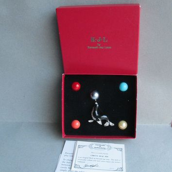 MINT In Box!  Vintage KJL Kenneth Jay Lane Rhinestone Circus Seal & 5 Interchangeable Balancing Balls