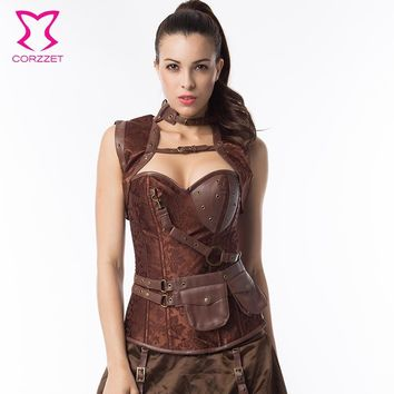 Steampunk Retro Clothing Leather Brocade Steel Boned Overbust Bustier Waist slimming Corset Pattern Corselet with Pouch Belt