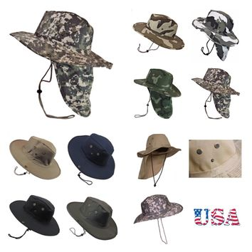 Bucket Cap Hunting Fishing Hiking Military Snap Brim Neck Cover Army Hat Caps