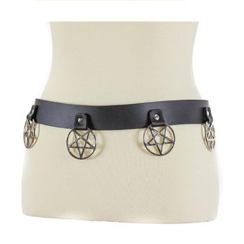 "Hanging Silver 2"" Inverted Pentagram Black Leather Belt 1-1/2"" Wide"