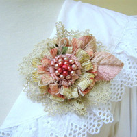 Raspberry and Cream Flower Brooch Pin by PickleBerryTrifles