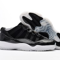 Air Jordan Retro 11 Low Barons Men Basketball Shoes 11s Low Barons Black White Sports Sneakers New With Shoes Box