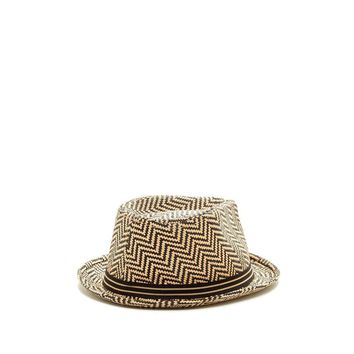 Ben Sherman Men's Brown Herringbone Straw Trilby Hat
