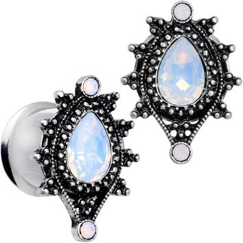 "1/2"" White Faux Opal Filigree Framed Double Flare Plug Set"