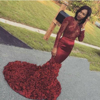 Burgundy Lace Long Sleeve Prom Dresses 2017 See Through Mermaid Rose Ruched Sweep Train Black Girl Formal Party Dresses