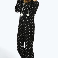 Holly Polka Dot Fleece Onesuit