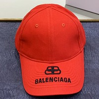 Balenciaga New fashion embroidery letter couple caps hat Red