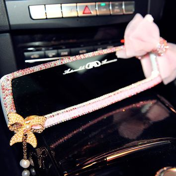 1pc Car Diamond Interior Rearview Mirror Bling Butterfly Flower Auto