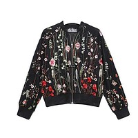 New Spring Cardigan Round Neck Floral Embroidered Jacket Long Sleeve Gauze Patchwork Casual Women Basic Coats