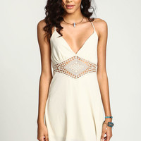 IVORY CROCHET STRAPPY SLIP DRESS