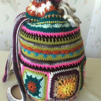 Crochet Granny Square.bag.. Vintage art backpack ...Traditional pouch..