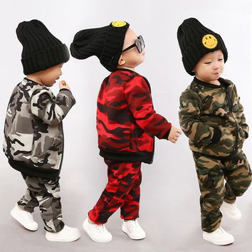 3 colors Plus velvet camouflage jackets leisure suits sports children 's clothing zipped striped baseball suits children' s set