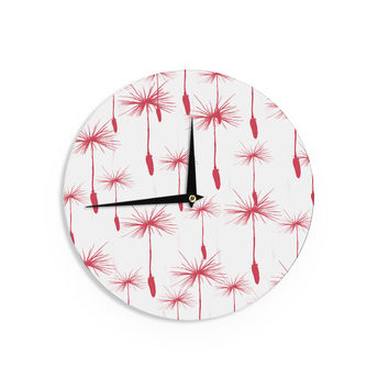 "Suzanne Carter ""Dandelion"" Red Floral Wall Clock"