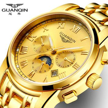 GuanQin Luxury Business Auto Mechanical Watch Men Watches Calendar Week Month Moon Phase 24 hours Luminous Sapphire Waterproof