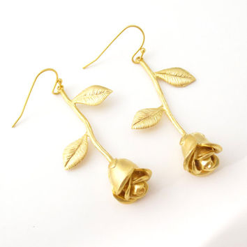 Rose, Earrings, Belle, Rose, Flower, Gold, Silver, Rose gold, Earrings, Romantic, Jewelry, Bridesmaid, Birthday, Gift, Accessory, Jewelry