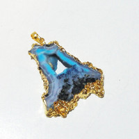Blue Turquoise Druzy Drusy Dipped In Gold Agate Pendant/ Drussy Druzzy Drusy Stone Hollow Center Pendant